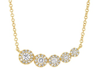 Lovely 14k Yellow Gold .32 ct Diamond circles necklace