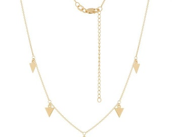 Stunning 14k yellow gold arrow pendant necklace