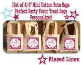 """Personalized Girl Pink Star Birthday Party Favor Bags Pinks Aqua Stars Treat Gift Bags Mini 6"""" Natural Cotton Totes Kids Party Bags Set of 4"""