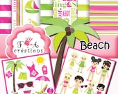Digital paper marine,sea,stripe, 6 digital papers + cliparts png green,PINK,paper pack rétro,nautic,kids,instant download