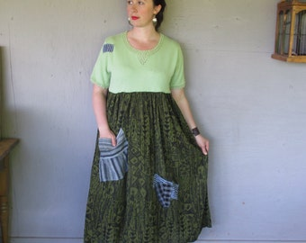 Sale upcycled clothing women's flowing maxi dress Funky Lagenlook Bohemian sweater Dress Large X Large Eco artsy dress by LillieNoraDryGoods