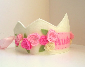 Felt Princess Crown, Felt Birthday Crown, Personalized, Flower Crown