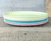 Vintage Melmac Plates Set Of 8 Daileyware Home Decorators Turquoise Yellow Pink and White Specked Melamine Dinner 10""