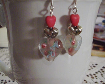 Pink Valentine Heart Earrings - Free Shipping