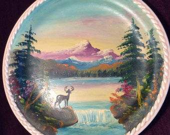 Hand Painted Deer Scene on Rodeo Universal Braided Plate
