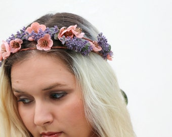 The Aurora Wreath - romantic lavender and peach blossom floral wreath, flower crown, boho crown, Renaissance crown, fairy, rustic
