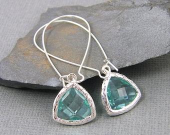 Aquamarine Earrings, Aqua Drop Earrings, Aqua Silver Long Dangle Earrings |AB2-10