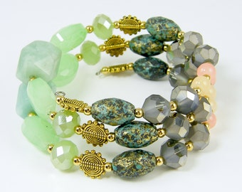 Mint Green Pink Gray Wrap Bracelet - Beaded Bangle on Memory Wire