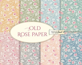 Old Rose Paper - 12 x 12 inch - background - digital collage - set of 8 - Printable Download