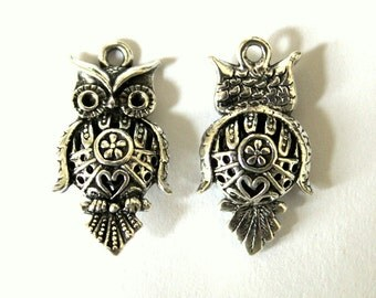 2 Antique Silver Hollow, 3D - Double Sided, Filigree, Owl Charms/Pendants S-038