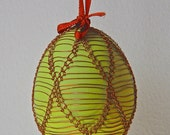 Handmade Copper Wire Wrapped Easter Eggs - Pysanky - Lime