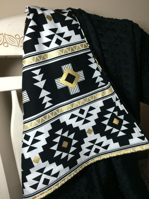 Black White Aztec Baby Blanket Crib Quilt Crib Blanket Crib
