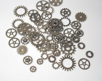25PC OR 50PC. Vintage Style Antique Bronze Steampunk charm assortment//Antique Bronze Steampunk Cogs & Gears//Cog and Gear Charms