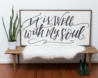 It Is Well {Handlettered} 4x2- Ready to SHIP