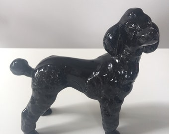 Large Vintage 1960s Black French Poodle Figurine
