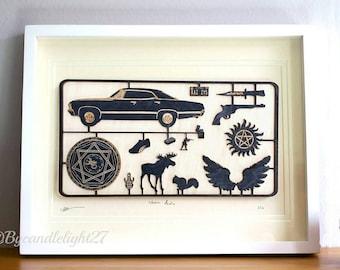 Supernatural - SPN - SPN Family - Supernatural Art - Woodcut - 3D - kit Panel Design - Mounted Art