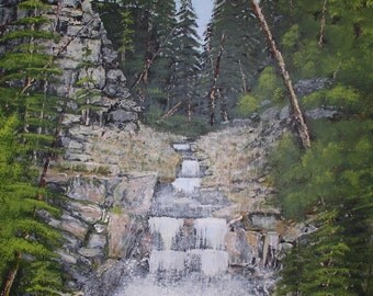 """Print of Original Acrylic Painting, """"Prospecting in Rocky Mountains"""""""