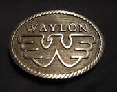 """Waylon Jennings Belt Buckle Black and Red Enamel """"Flying W Logo"""""""