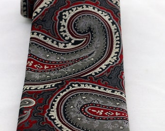 Vintage Men's Wide Grey Red Paisley Tie/ Retro Paisley Fat Necktie