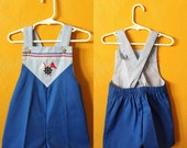 Vintage toddler girl or boy blue nautical romper/ jon jon/ overalls/ flags, red white and blue/ boy vintage/ girl vintage size 2/3T