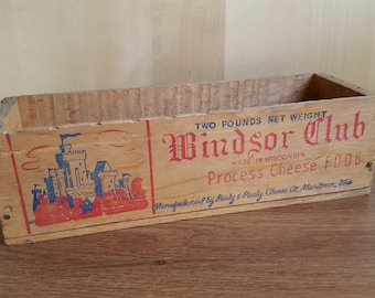 Vintage Wooden Cheese Box, Windsor Club Cheese Box