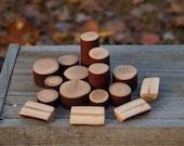 Woodland Blocks, Waldorf Inspired, Imaginative Play, Natural Blocks, Set of 16. Madrone Wood.