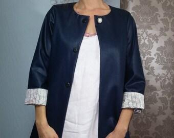 Blue long cotton jacket / japonese satin cuff .01416