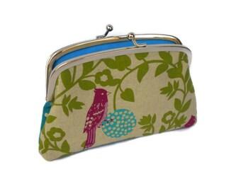 Echino bird coin purse, etsuko double frame wallet, turquoise, purple, green, pink perch