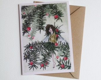 Yew Fairy - Winter Greeting Card - Traditional Watercolour