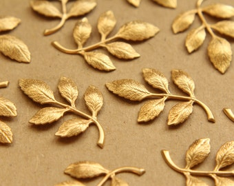 4 pc. Raw Brass Leafy Branch Stamping, 36mm by 27mm - made in USA | RB-682