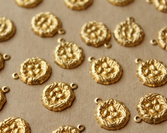 12 pc. Raw Brass Nest with Eggs Charms: 16mm by 14mm - made in USA | RB-742