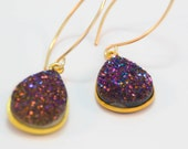Purple Druzy Gold Dangle Earrings, Gold Drusie Earrings, Natural Crystal Earrings, Natural Druzy, Purple Earrings