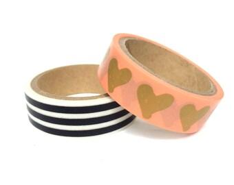 Set of 2 Washi Tapes Pink / Gold /Hearts