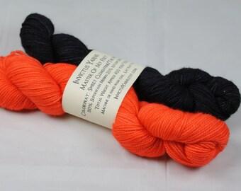Sweet Clementine/The Pit Halfsies Master of My Feet 80/20 SW Merino/Nylon fingering weight sock yarn half skeins mini skeins