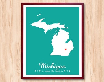 MICHIGAN is where the heart is - States Map Personalized gift Wall Art Kids room Art Children room art Baby nursery room Living Room decor