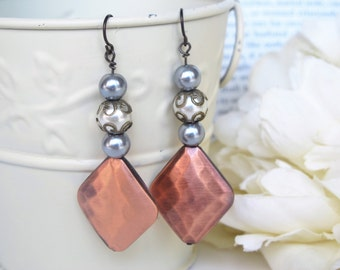 Copper Pendant Earrings, Niobium Earrings, Hypoallergenic Earrings, Boho Chic Earrings, Bohemian
