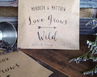 Seed Packet Favor - Bridal Shower Favor - Wedding Seed Favors- Wildflower Seed Bags - Rustic Wedding - Seed Envelopes - packof 25