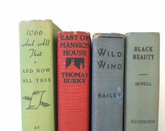 Multi Colored Vintage Books/Wedding Decor/Red Blue Green Books/Book Decor/Decorative Books/Instant Library/Book Bundle/Cottage Chic