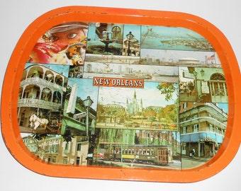 Vintage Tray,  New Orleans, Serving Tray, Orange, Tin Tray, Souvenir Tray, United Gift and Novelty Company Inc