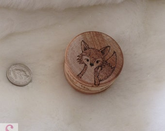 wooden pot handrawn picture ornament fox woodland wood burning pyrography art forest scene natural home decor rustic drawing mini gift