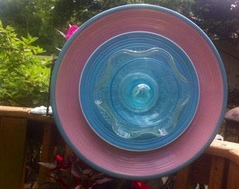 Glass Garden Flower--SALE!!!Pretty in Pink-Garden Whimsy-Cottage Garden