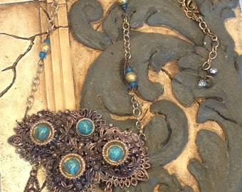 Ornate Victorian Chunky Statement Necklace Antique Brass Gold Turquoise Repurposed Filigree Vintage Jewerly Boho Upcycled WishAnWearJewelry