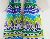 Skinny Scarf, Hand Painted Tribal Silk Habotai Design in Blue, Turquoise, Green, Lime, Purple and White