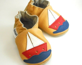 soft sole baby shoes handmade ship on yellow 0 6 garcon fille cuir souple chaussons Krabbelschuhe Lederpuschen ebooba SH-9-Y-M
