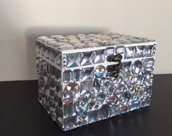 Rhinestone covered jewelry storage box