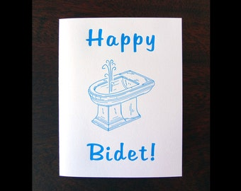 Happy Bidet : Letterpress Birthday Card.