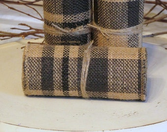 "Primitive Plaid Burlap Ribbon, 5inch Wide 3yds, Dark Chocolate Brown with Black ""Plaid"" Burlap, Accent Runner, Primitive Decor, Garland"
