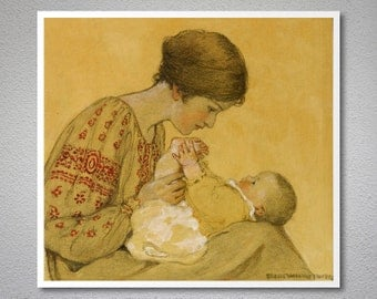 New Born by Jessie Willcox Smith - Poster Paper, Sticker or Canvas Print