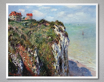 Cliff at Dieppe  by Claude Monet - Art Print - Poster Paper, Sticker or Canvas Print