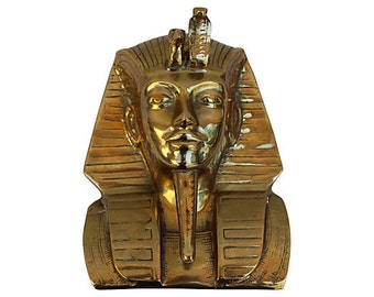 King Tut Egyptian Brass Bust